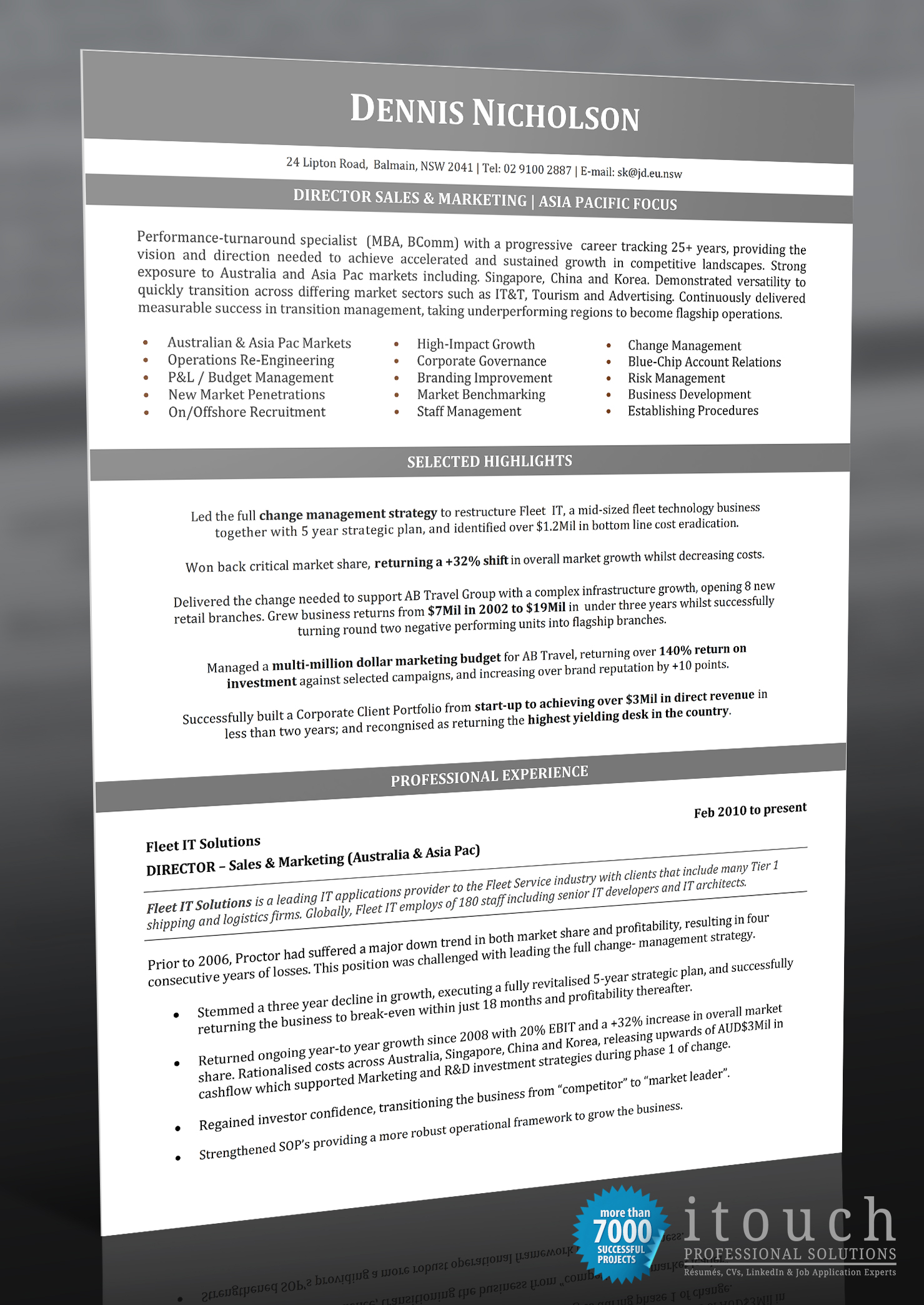 director of sales itouch resume writers. Black Bedroom Furniture Sets. Home Design Ideas